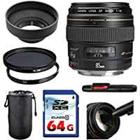 Canon EF 85mm f/1.8 USM Lens Bundle + UV Filter + Polarizer Filter + 2 In 1 Lens Cleaning Pen + High Speed 64GB Memory Card + Rubber Hood + Deluxe Lens Case