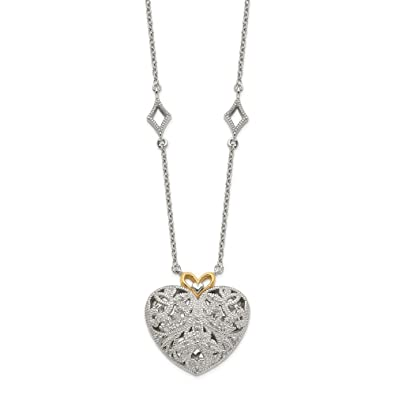 2cd40e90c741e Amazon.com: Rhodium-Plated Sterling Silver, 14k Yellow Gold, Diamond ...