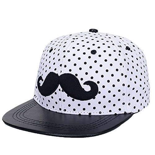 Asher Adjustable Womens/girls' Mustache Hip Hop Snapback Baseball Hat Cap (White)