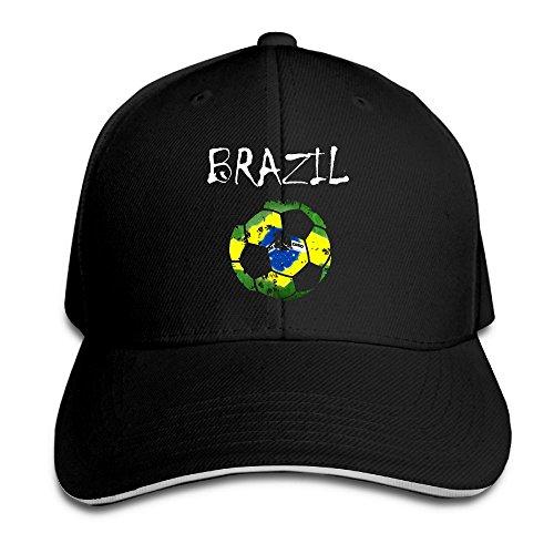 XILI-HUALA Adult Vintage Soccer Ball Brazil Flag Snapback Hat Dad Hat Black Sandwich Peaked Cap Black
