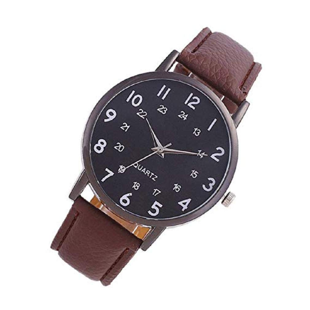 Noopvan Women Quartz Watch Simple Style Number Pattern Big Face Leather Band Elegant Casual Analog Wrist Watches (Black): Home Improvement