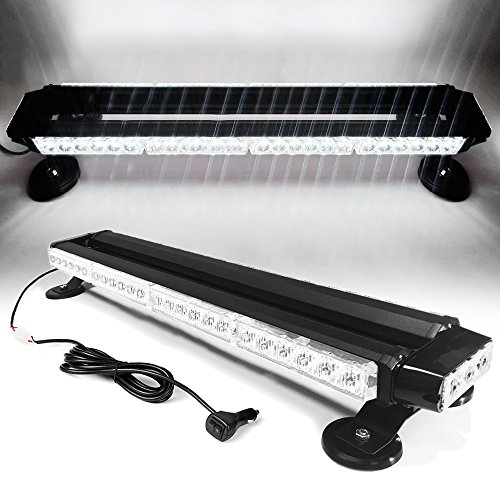 """26"""" 54 LED 7 Flash Mode Traffic Advisor Double Side Emergency Warning Security Vehicle Roof Top Strobe Light Bar with Magnetic Base for Undercover or Tow Truck Construction (White A)"""