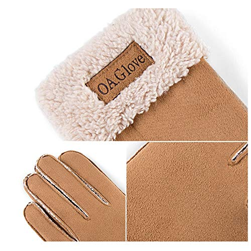 AINIYF Full Finger Motorcycle Gloves| Men's Winter Suede Outdoor Gloves Warm Winter Racing Motorcycle Thicken Windproof Plus Velvet Student (Color : Coffee color) by AINIYF (Image #3)