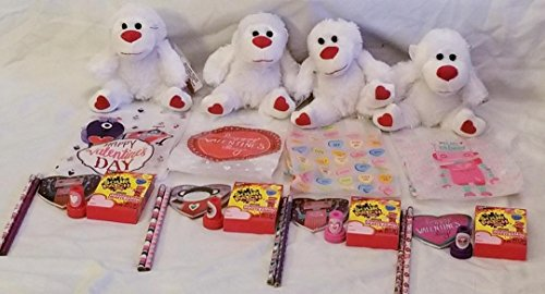 Conversation Heart Pencils (Valentine's Day Gifts for Kids! 4-Party Packs For Easy Classroom or After School Activity Exchange-Fluffy Teddy Bear with Valentine Themed Pencil, Notepad, and Stamp Activity Set and Much More!)