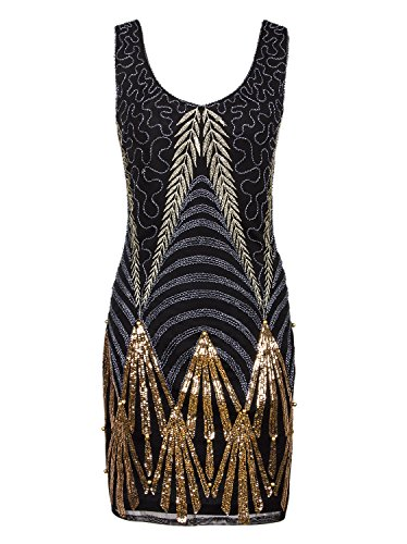 Vijiv Women's 1920s Gatsby Art Deco Sequin Roaring 20s Cocktail Flapper Dress (The Roaring 20s Fashion)