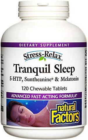 Stress-Relax Chewable Tranquil Sleep by Natural Factors, Sleep Aid with Suntheanine L-Theanine, 5-HTP, Melatonin, Tropical Fruit Flavor, 120 tablets (60 servings)
