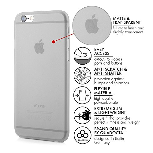 "QUADOCTA iPhone 6s PLUS (5,5"") Ultra Slim Case - Schutzhülle - ""Tenuis"" in Grau - Ultra dünne iPhone Hülle - Leicht transparentes Case"