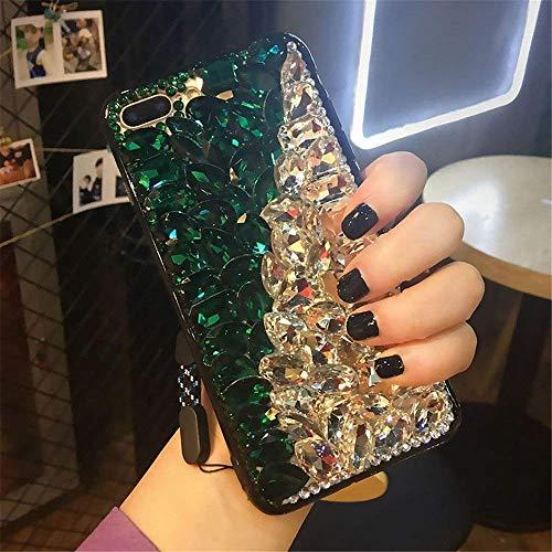 Jeweled Bling Case - Cfrau Full Diamond Case with Black Stylus for Samsung Galaxy S10 5G,Luxury 3D Handmade Sparkle Glitter Crystal Rhinestone Bling Gemstone Jewelled Soft Bumper PC Case,Green White