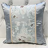 ZUOANCHEN Cushion European Fabric Sofa Pillow Cushion Home Garden Three-Dimensional Embroidery Pillow with Core Bed Back Cushion Soft Pillow 4545CM (Color : A)