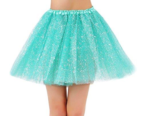 Jasmine Race Tutu Adult Women's Sparkly Glitter Tulle Tutu Skirt,Buish Green