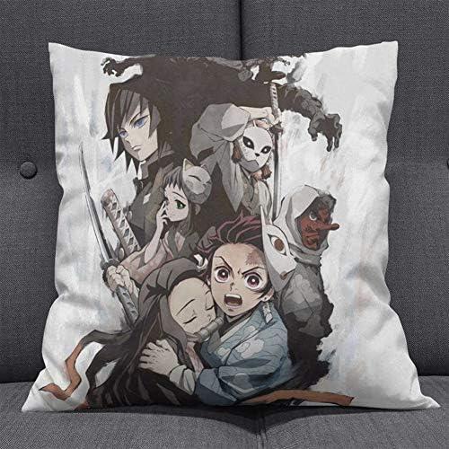 SGOT Anime Kissen Demon Slayer Kissen Kamado Tanjirou Pillow Cartoon Plüschkissen Kamado Nezuko Deko Kissen Super Weich 45 * 45cm(H07)