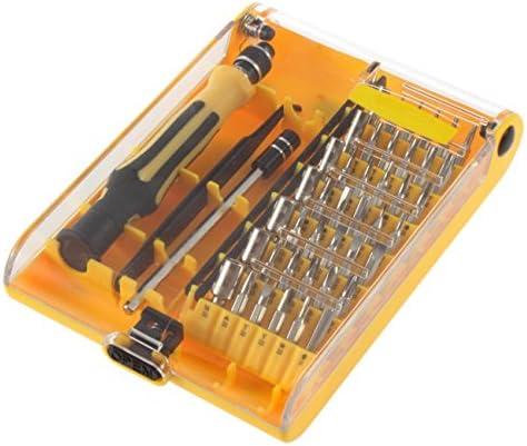 ポータブル耐久性のあるピンセットモバイルキット45で1セットトルクス精密スクリュードライバー携帯電話修理ツールセットハンドツールキット(イエロー)