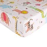Crib Sheet Toddler Sheet 1 Pack 100% Cotton for Baby boy Zoo Pattern Crib Sheet by UOMNY