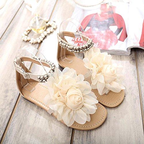 Bovake Women Sandals, Boho Sweet Beaded Summer Flower Flat Flip Flops Women's Shoes Sandals - Bohemia Heels Ladies Ankle Strap Buckle Shoes Flat Wedges Shoes Lovely Footwear Flip Flop Sandal Beige