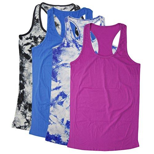 Womens Racer Tank (Maternity Tank Tops, BollyQueena Women's Nylon Workout Tanks Multicoloured 4 Packs M)