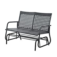 "Outsunny 47"" x 30"" x 35"" Outdoor Wicker Glider Swing Chair Patio Garden Bench Rocking Gliding Seat Yard Porch Furniture"