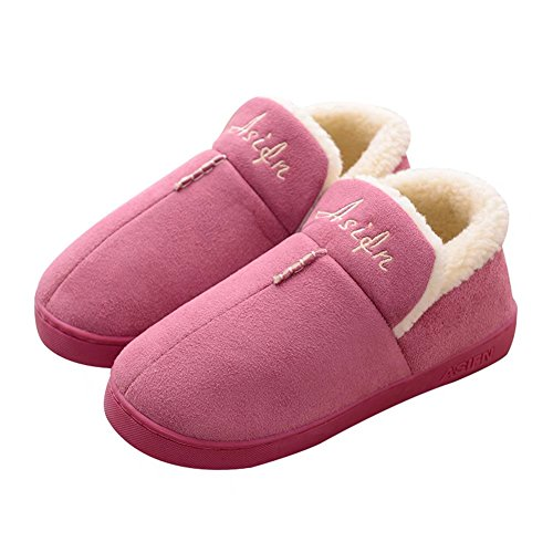 House Cotton Slipper Warm Indoor Memory Foam CIOR Women for Outdoor Sole Shoes Men Purple Winter RqfwSn