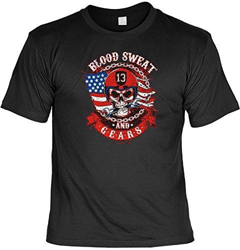 T-Shirt mit Urkunde - Blood Sweat and Gears - Lustiges Sprüche Shirt als Geschenk für Biker mit Humor