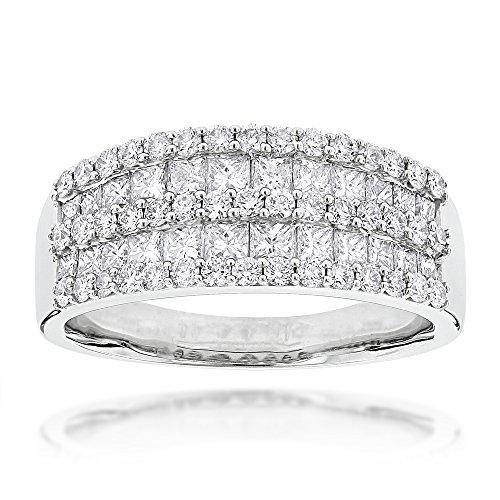 ncess Cut Diamond Band Ladies Ring 1.8ctw G-H color (White Gold, Size 6) (Platinum Round Diamond Eternity Band)