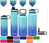 SUCFORST Water Bottle +2 Extra Lids- Vacuum Insulated Stainless Steel Wide Mouth Travel Mug - Powder Coated Double-Walled Flask,36 oz,32 oz,24 oz,18 oz (24 oz, Twilight Blue/Teal Blue)