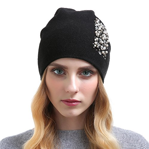 Vemolla Girls Hand Knitted Oversized Headwear - Double Layers, Soft & Warm Beanie Hats for Women with Elegant Rhinestone(with 4 Colors) Black Black Oversized Rhinestone