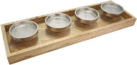 Kerzenhalter für 4 Kerzen Kerzentablett Holz Metall Tischdeko Mangoholz 50 cm