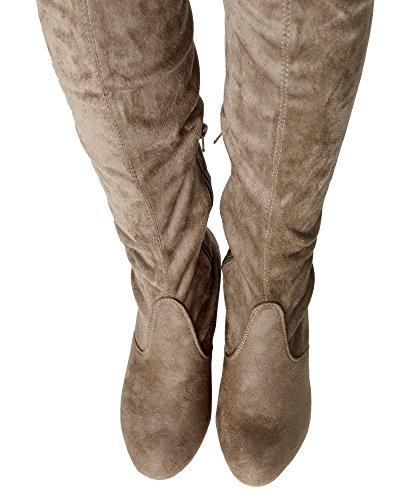 RF RAUM DER MODE Frauen Block-Block-Block-Block-Ferse-Stretch-Stiefel - erhältlich in mittlerer und breiter Wade Taupe Su - Mittleres Kalb