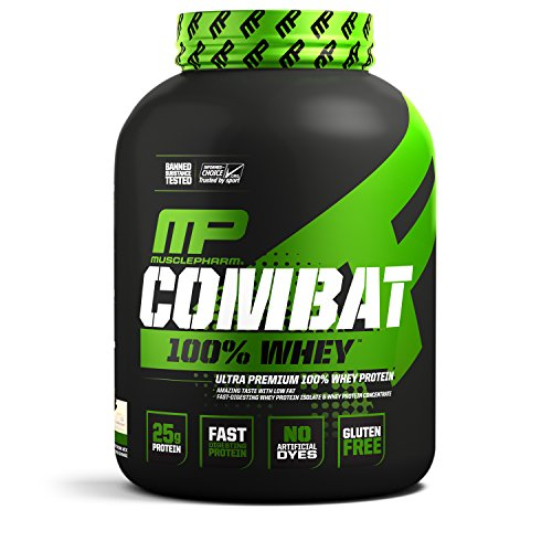 MusclePharm Combat 100 Whey, Muscle-Building Whey Protein Powder, 25 g of Ultra-Premium, Gluten-Free, Low-Fat Blend of Fast-Digesting Whey Protein, Vanilla, 5-Pound, 73 Servings
