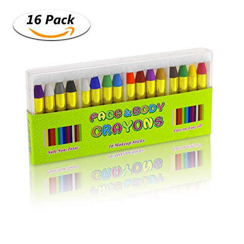 Fixget 16 Colors Face Paint Crayons, Safe & Non-Toxic Professional Body Crayons Sticks Cosmetic Painting Crayons Face Painting Sticks Perfect for Festival Party, Birthday, Halloween, Christmas - No Face Costume Face Paint