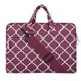 MOSISO Laptop Shoulder Bag Compatible 15 Inch New MacBook Pro with Touch Bar A1990 & A1707 2018/2017/2016, Also Compatible 14 Inch Notebook, Quatrefoil Canvas Briefcase Handbag Sleeve Case, Wine Red