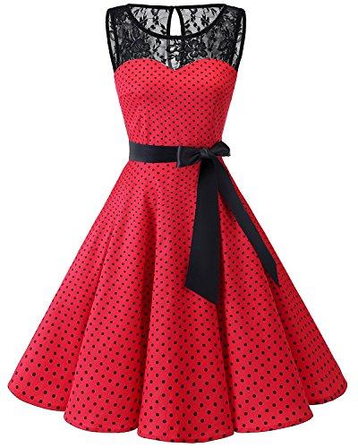Red Fiesta Encaje Boda Dot Bbonlinedress Small Corto Mujer Black Vestido Mangas Sin w7q784afS