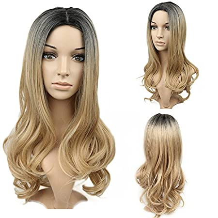 Amazon.com: RJ Hair Glueless Ombre Lace Front Wig Natural Wave Honey Blonde Dark Roots Ombre Synthetic Wavy Hair Front Lace Wigs Hotsale (20inch): Beauty