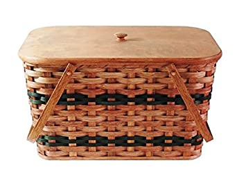Amish Handmade Large Picnic Basket w Divider Tray, Lid, and Two Swinging Carrier Handles in Green
