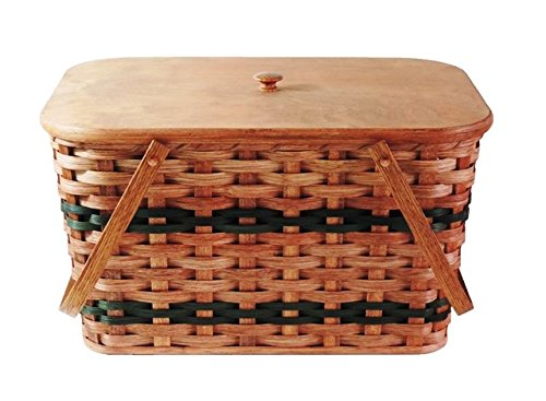 Amish Handmade Large Picnic Basket w/Divider Tray, Lid, and Two Swinging Carrier Handles in Green