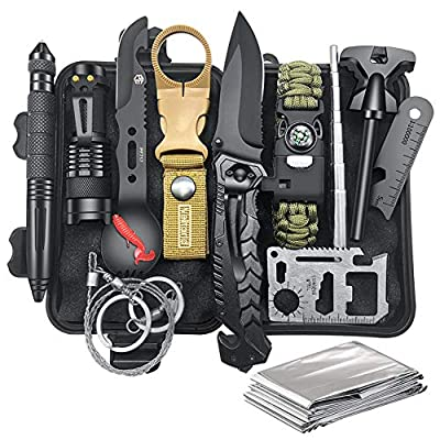 Survival Gear Kit Camping Gear, 12-in-1 EDC Survival Earthquaker Kit, SOS Emergency Tool for Camping, Hiking,Trekking Wild Adventure Earthquake, Unique Gifts for Him Husband Men Dad Boyfriend from Veitorld