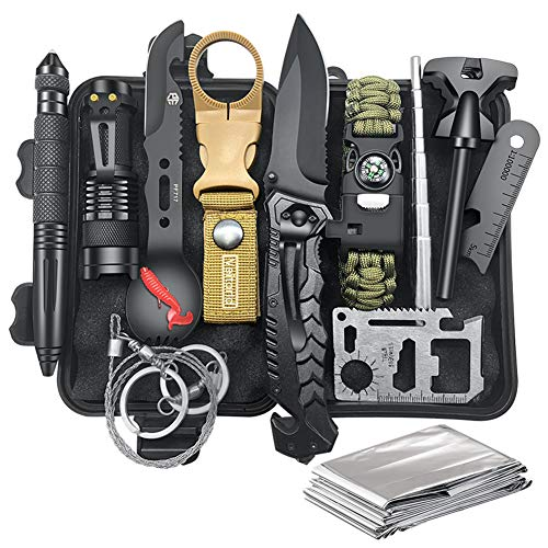 Gifts for Men Dad Husband, Survival Kit 12 in 1, Fishing Hunting Birthday Gifts Ideas for Him Boyfriend Teen Boy, Cool Gadget Christmas Stocking Stuffer, Survival Gear, Emergency Camping Hiking Gear (For Men Outdoors Gifts)
