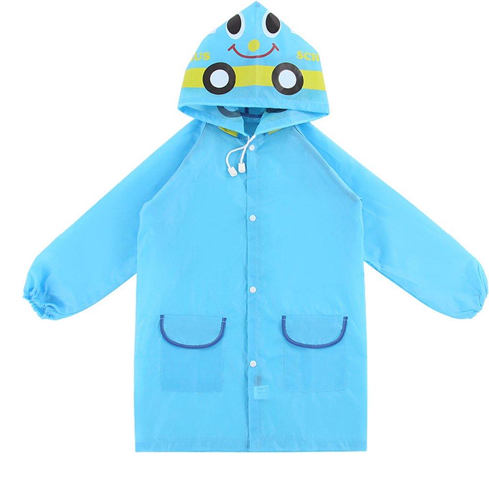 Gosear Chubasquero Con Capucha, Impermeable Prueba de Agua Poncho Capa Lluvia para Niños (Azul)