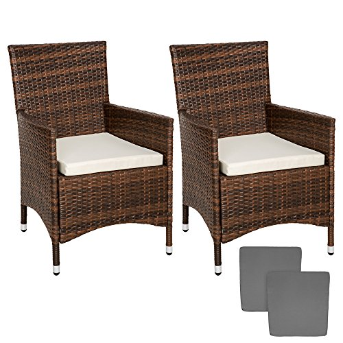 Tectake 2 pezzi sedie da esterno sedia da giardino poli for Cuscini per sedie da esterno