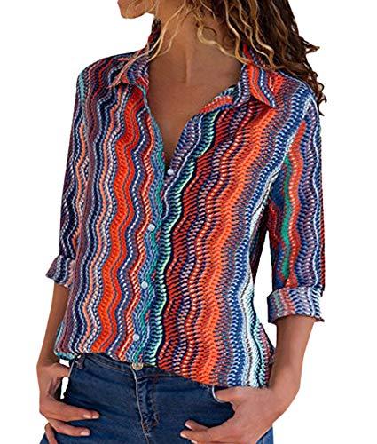 Collo Casual Maglie Manica Tops V Camicia Camicetta a Arancia Shirt Shirts Tee Donna Moda T Blouse Bluse Autunno e Lunga Primavera Stampa 6xgqYY