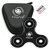 Fidget Spinner by Fidgetrix - ADHD, Anti-Anxiety 3D Fidget Toy with Ceramic Bearing and 360 degree high speed rotation – Best Stress Reduces for Kids and Adults (Black and Case)