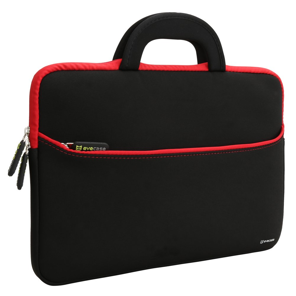 Laptop Sleeve Evecase 13.3-14 inch Slim Neoprene Carrying Laptop Sleeve Pouch Case Bag w/Handles Accessory Pocket (Black Red Trim)