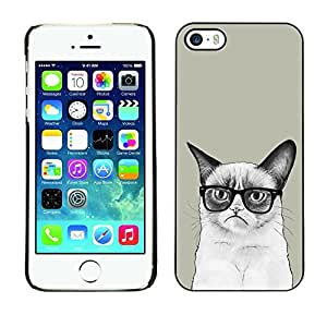Be Good Phone Accessory // Dura Cáscara cubierta Protectora Caso Carcasa Funda de Protección para Apple Iphone 5 / 5S // Siamese Cat Drawing Angry Glasses Art Hipster
