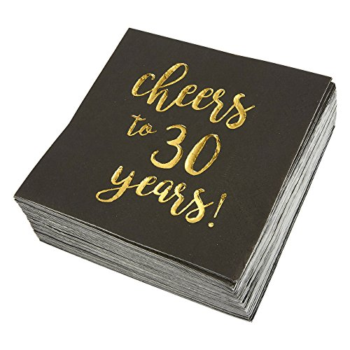 50-Pack Cocktail Napkins - Disposable Paper Party Napkins with Cheers to 30 Years! Printed in Gold Foil, Perfect for Birthday and Anniversary Celebrations, 5 x 5 inches Folded, Black