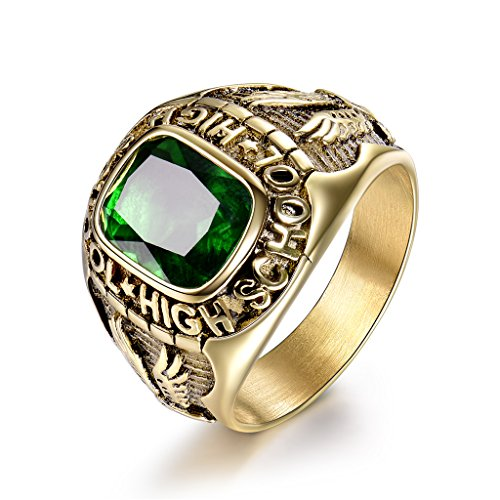 - MASOP Stainless Steel Punk Jewelry Ring Engraved Eagle High School Green CZ Zirconia Rings Size 11