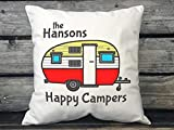 Pillowcase, Happy Campers Travel Trailer Decor, Personalized Gift, Personalized with Family Name, Trailer Gift