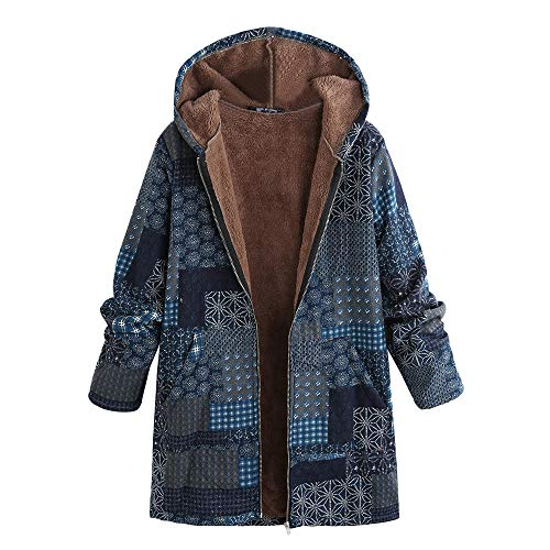 Price comparison product image Clearance! MatureGirl Cloak Women Casual Hoodie Plus Size Long Sleeve Vintage Ladies Fleece Thick Coats Zipper Coat (Blue,  X-Large)
