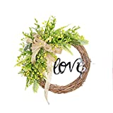 FAVOWREATH LOVE Series Handmade 11 inch Green Grass And Wild Fruit Dry Wreath For Front Door/Wall/Fireplace Wedding Floral Hanger Artificial Flower Decor