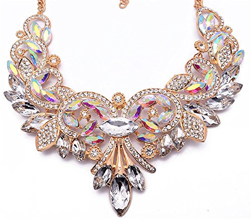 Girl Era Womens Colorful Rhinestone Crystal Queen Costume Jewelry Bib Statement Necklace (Costume Necklace)