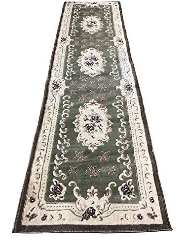(Traditional Aubusson Long Runner Area Rug Sage Green Design#507 (31in.X9ft.10in.))