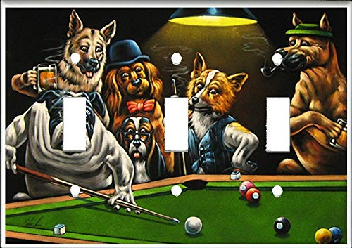 (Triple Toggle (3-toggle) Light Switch Plate Cover - Dogs Playing Pool Billiards)